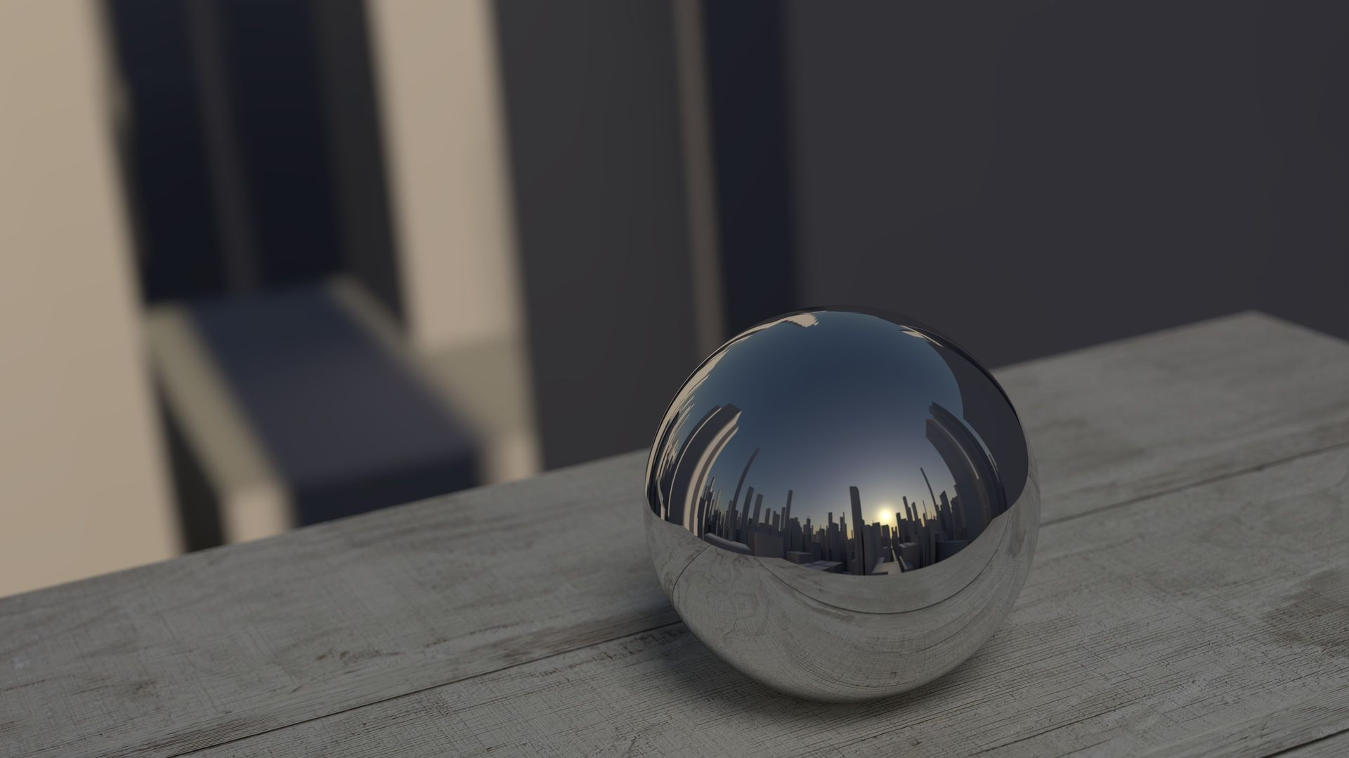 ball sphere mirror reflection city