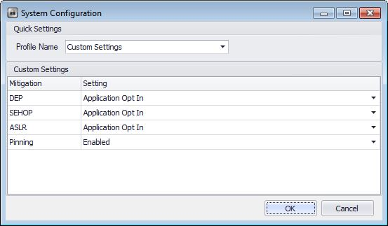 System Mitigation Settings