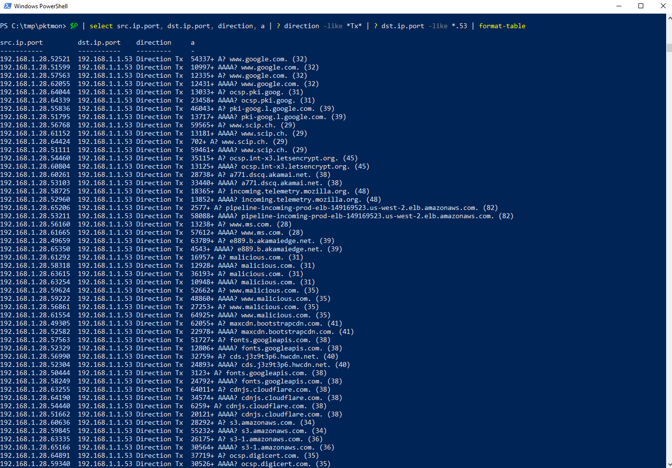 PowerShell Abfrage: DNS-Anfragen