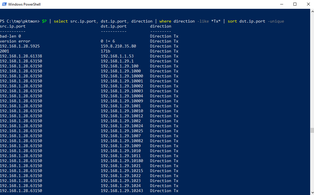 PowerShell Abfrage: DST IPs und Ports