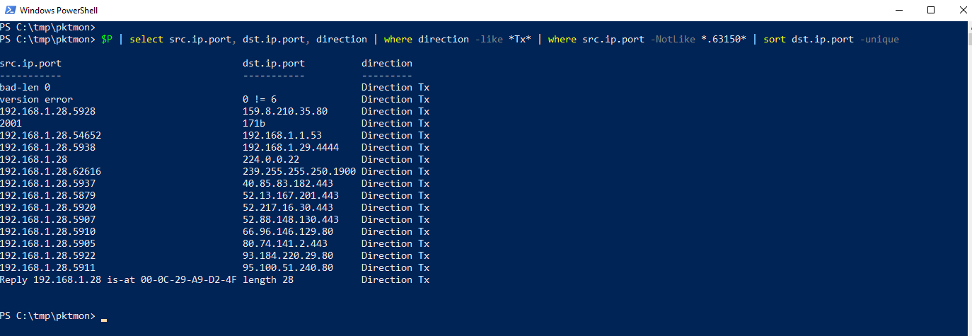 PowerShell Abfrage: DST IPs und Ports ohne Port-Scan