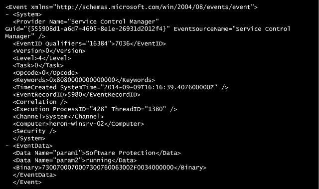 XML view of a Windows Event Log